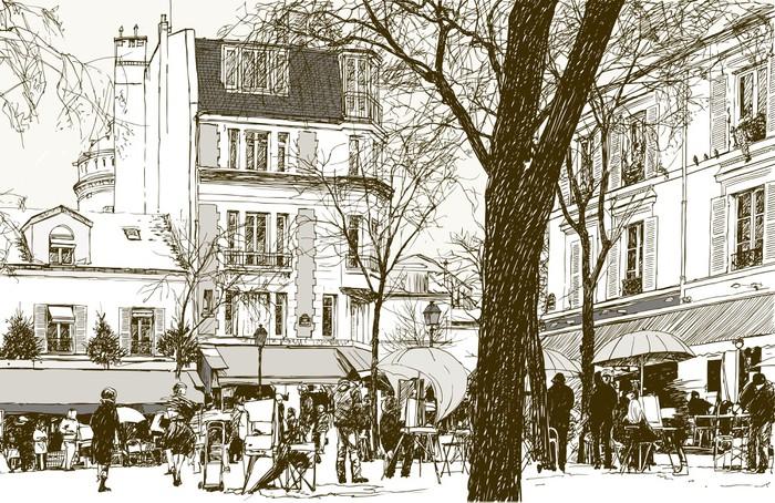 Montmartre in Paris under snow Wall Mural - Vinyl - Themes