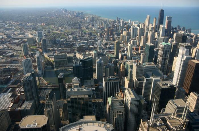 Vinylová Tapeta Chicago letecký pohled - Město