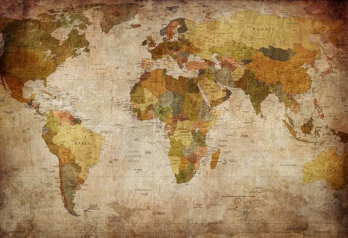 Papier Peint à Motifs Vinyle Monde de carte -