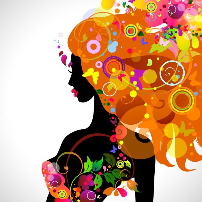 Carta da parati estate composizione decorativa con ragazza pixers viviamo per il cambiamento - Carta da parati decorativa ...