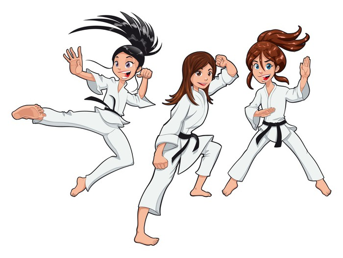 karate girls players vector cartoon isolated characters wall decal rh pixers us Superhero Dogs Cartoon Network Superdog Cartoon Games