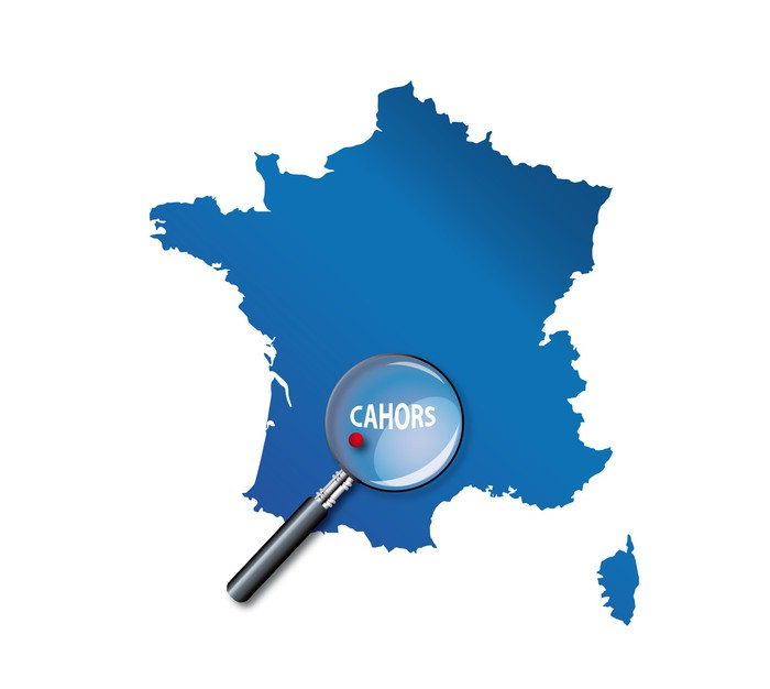 Vinylová Tapeta Cahors: Lokalizace sur carte de France - Departement du Lot - Evropa