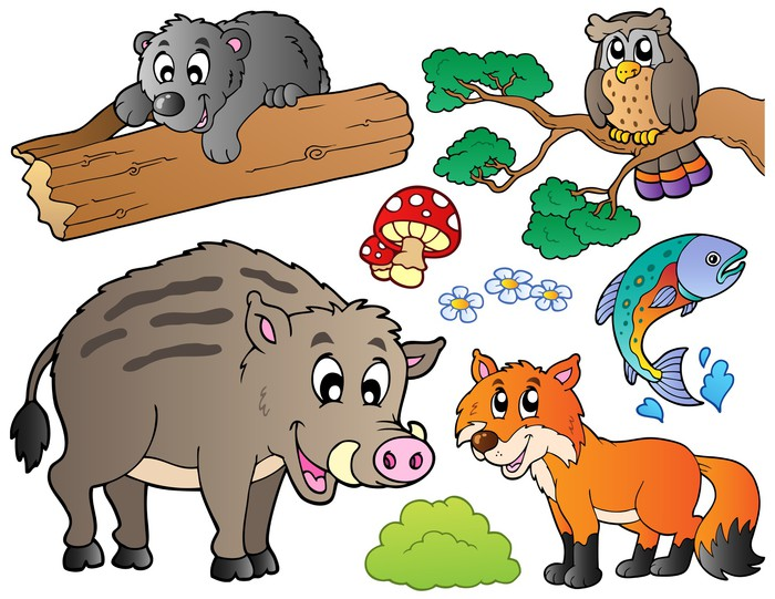 Pixerstick Sticker Bos cartoon dieren set 1 - Vogels