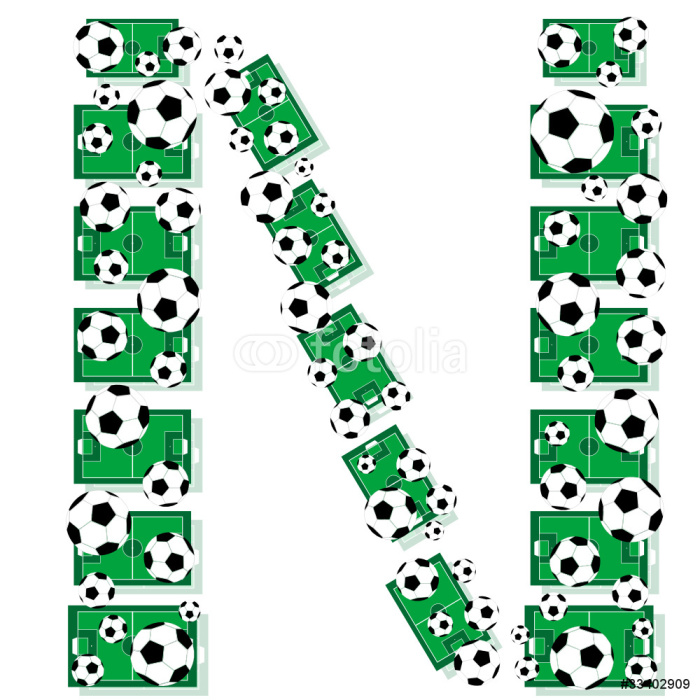 Vinylová Tapeta N, abeceda fotbal dopisy z fotbalových míčů a polí - Týmové sporty