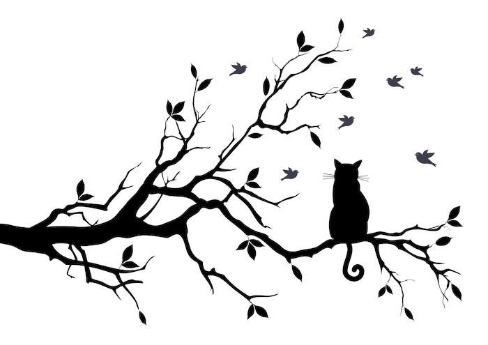 Sticker Pixerstick Chat sur un arbre avec des oiseaux, vecteur - science &; nature