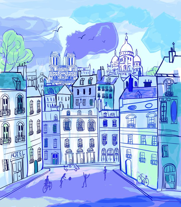 Paris in watercolor style