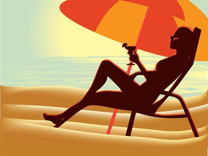 Vinylová Tapeta Dívka na pláži vektoru - Prázdniny