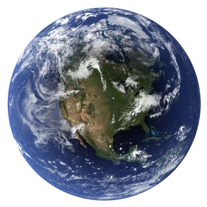 Vinylová Tapeta 3D (Clouds & topografie mapy pocházejí z earthobervatory / NASA) - Meziplanetární prostor
