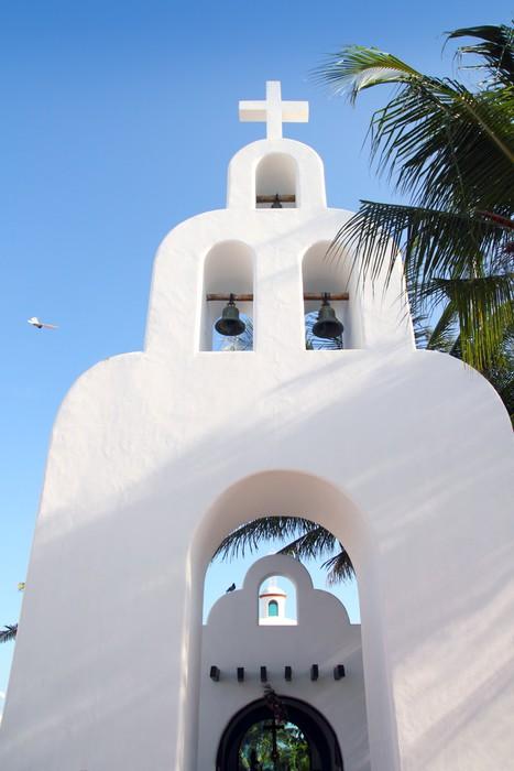 Vinylová Tapeta Playa del Carmen bílá mexický kostel oblouků zvonice - Amerika