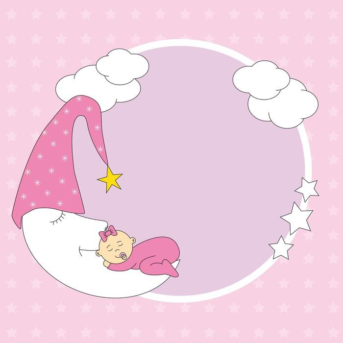 Marco niña durmiendo encima de la luna Sticker • Pixers® • We live ...