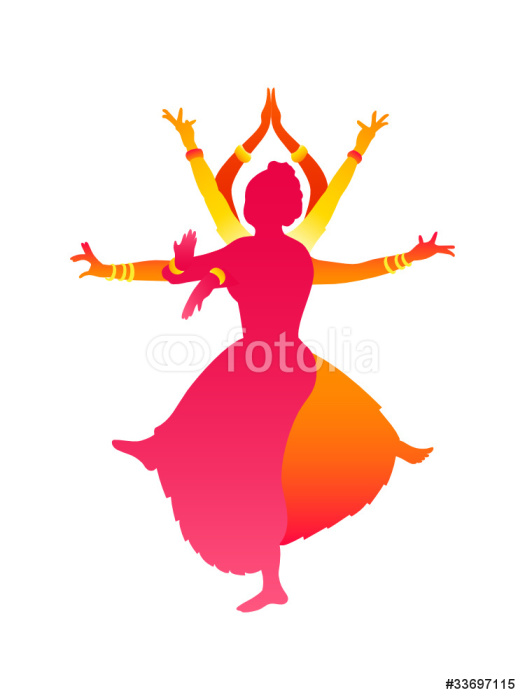 Colorful Classic Indian Female Dance Bharatanatyam Wall