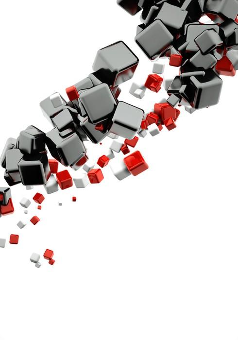 Vinylová fototapeta 3d abstraktní pozadí s lesklé červené a černé kostky - Vinylová fototapeta