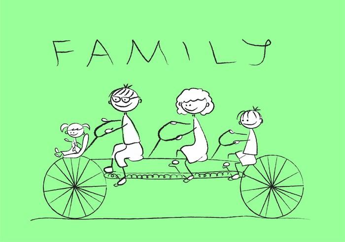 Vinylová fototapeta Детский рисунок семьи на велосипеде, вектор - Vinylová fototapeta