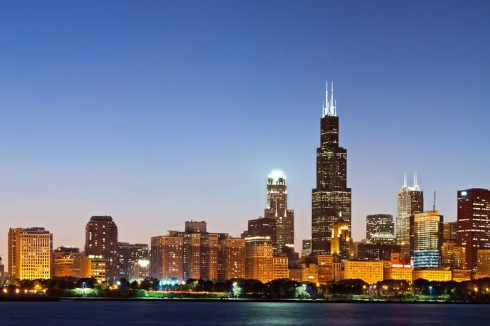 Vinilo Pixerstick Horizonte de Chicago en el crepúsculo. • Pixers ...
