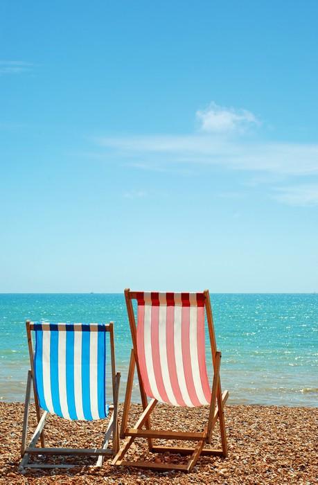Nálepka Pixerstick Dvě lehátka na pláži - Voda