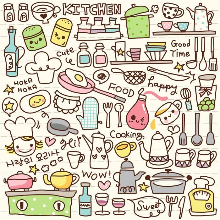 cute doodle kitchen stuff wall mural  u2022 pixers u00ae  u2022 we live