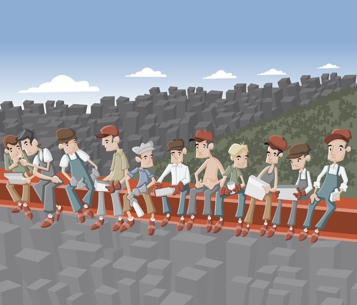 Nálepka Pixerstick Stavební dělníci poobědvat v Empire State - Život