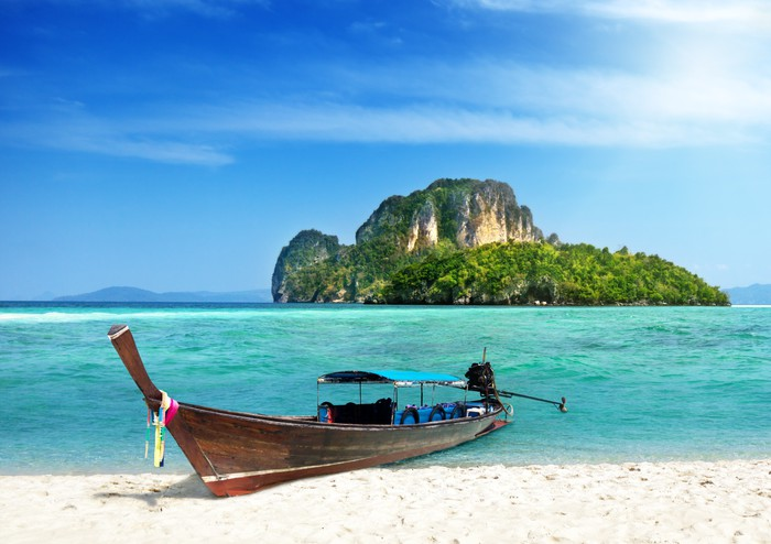 long boat and island in Thailand Vinyl Wallpaper - Water