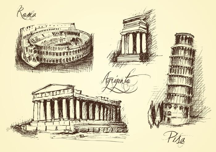 Nálepka Pixerstick Italské architektonické symboly - Umění a tvorba