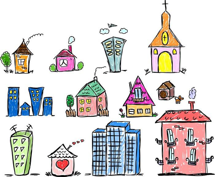 Vinylová Tapeta Искусство домов для вашего дизайна - Soukromé budovy