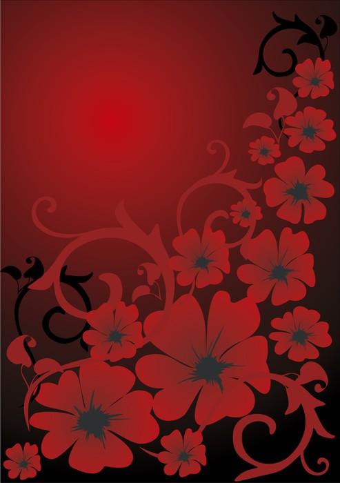 Vinylová Tapeta Červené květinové pozadí - Pozadí