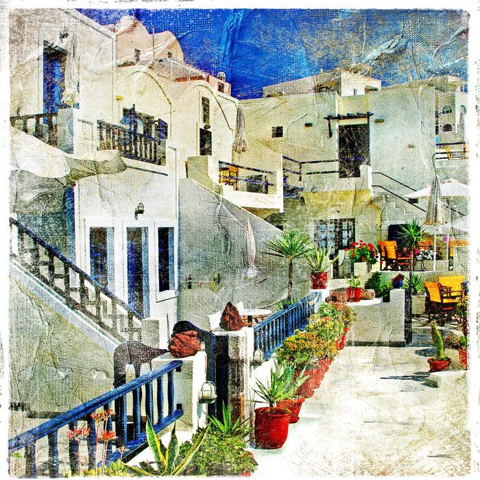 Leinwandbild Straßen von Santorini - Kunstwerk im Malstil - Themen