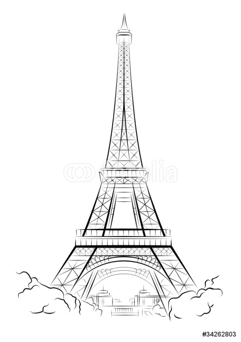 Vector drawing eiffel tower in paris france wall mural for Eiffel tower wall mural ikea