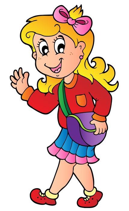 Fotomural niña de dibujos animados caminar a la escuela