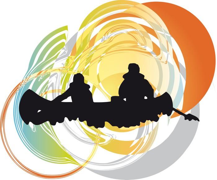 Vinylová Tapeta Turisté v kánoi jízda na kajaku přes řeku. vektorové ilustrace - Lodě