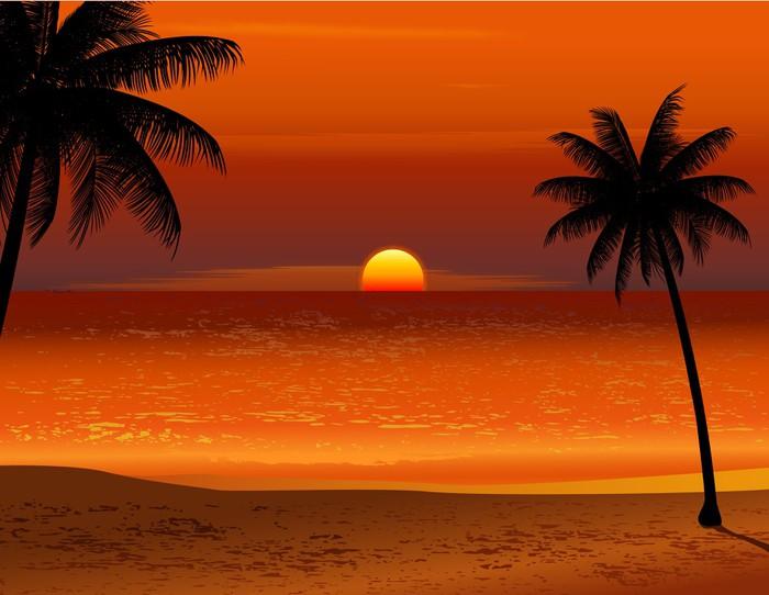 Vinylová Tapeta Tropická pláž západ slunce - Voda