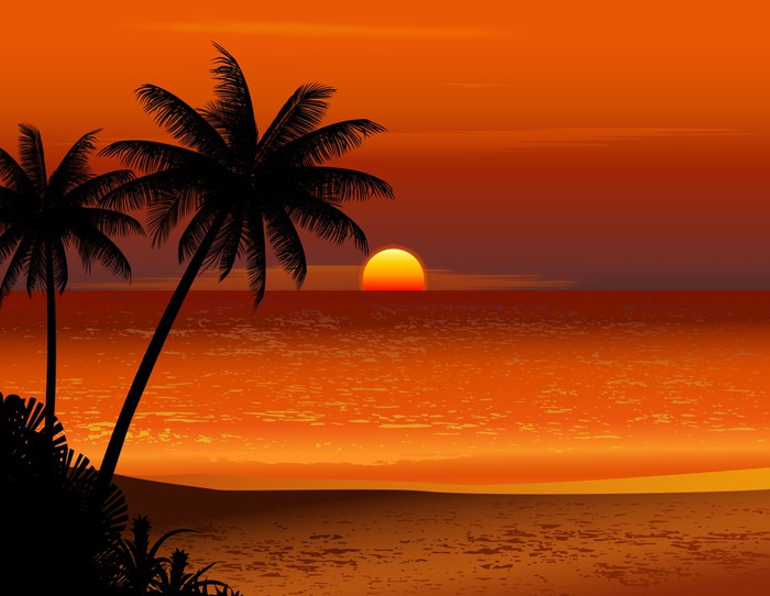 Tropical beach sunset wall mural vinyl pixers we for Beach sunset mural