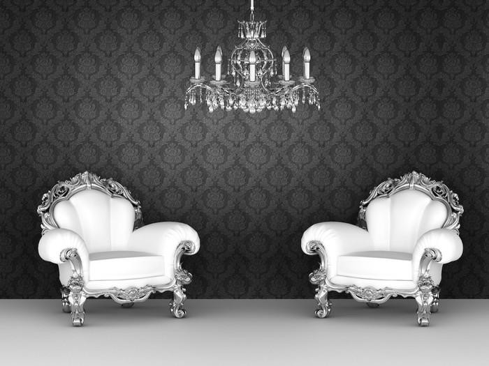 Carta da parati poltrone di lusso in interni barocchi for Carta parati lusso