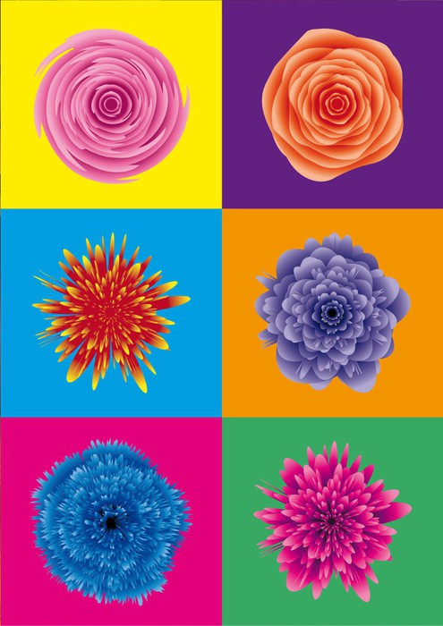 sticker flower power blumen pop art pixers nous. Black Bedroom Furniture Sets. Home Design Ideas