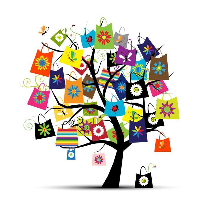 Aufkleber Einkaufstaschen auf Baum für Ihr design • Pixers® - Wir ...