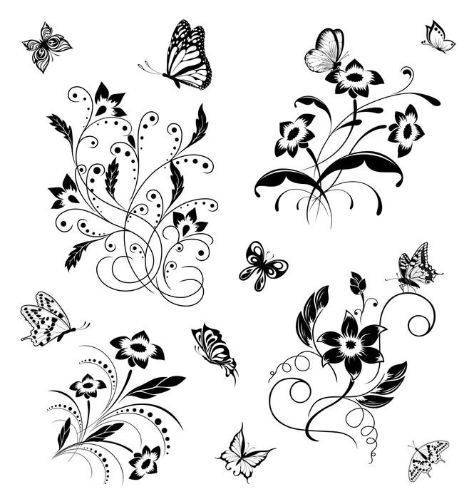 Vinylová Tapeta Sada s motýly a květinové vzory - Nálepka na stěny