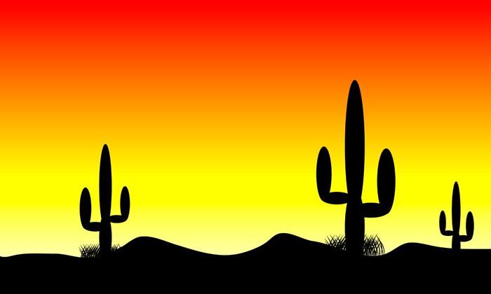 Vinylová Tapeta Pouštní slunce s kaktusů - Amerika