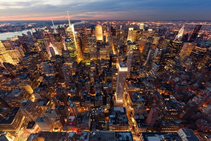 Papier Peint Vinyle Vue de Manhattan à vol d'oiseau -