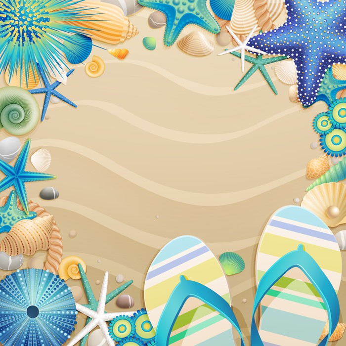Flip-flops and shells frame on the beach Wall Mural • Pixers® • We ...