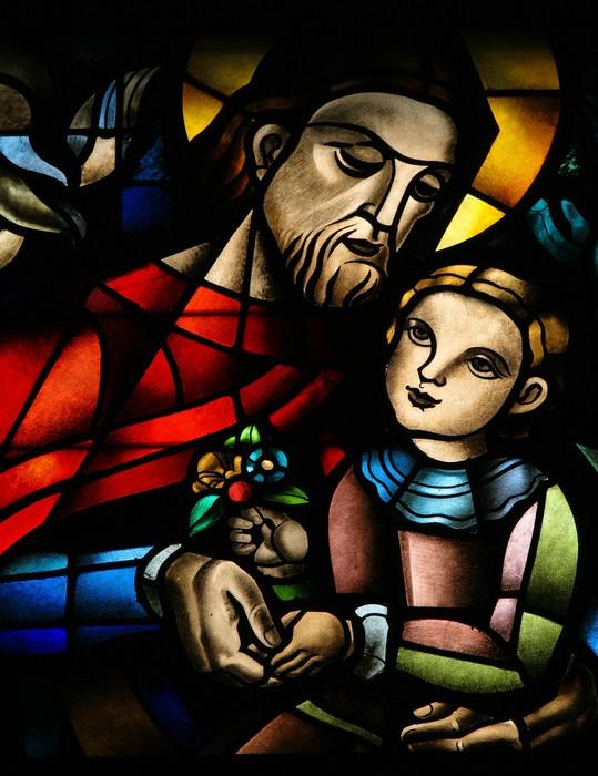 Vinylová Tapeta Vitráže okno zobrazující Ježíše a dítě - Veřejné budovy