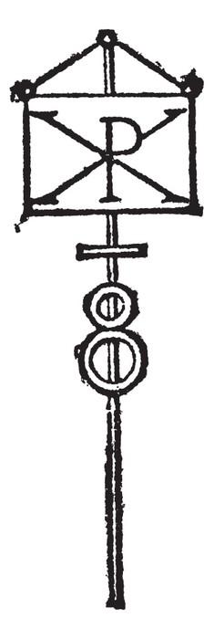 Labarum Or Chi Rho Symbol For Christ Vintage Engraving Wall Mural