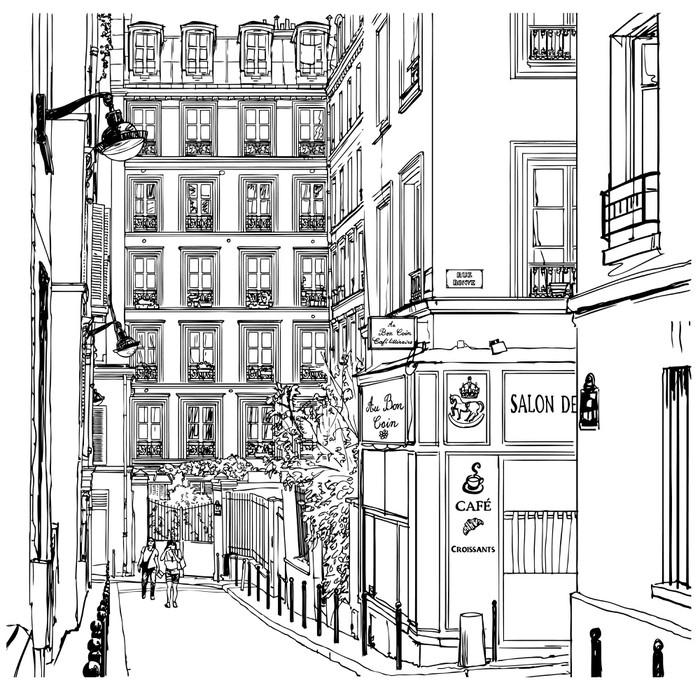 Quadriptyque Rue près de Montmartre à Paris - Pour café