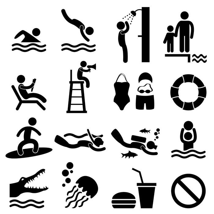 Naklejka Ludzie mężczyzna Basen Sea beach piktogram ikonę ...