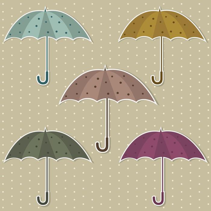 Papier Peint Vinyle Ensemble de parasols colorés - Saisons