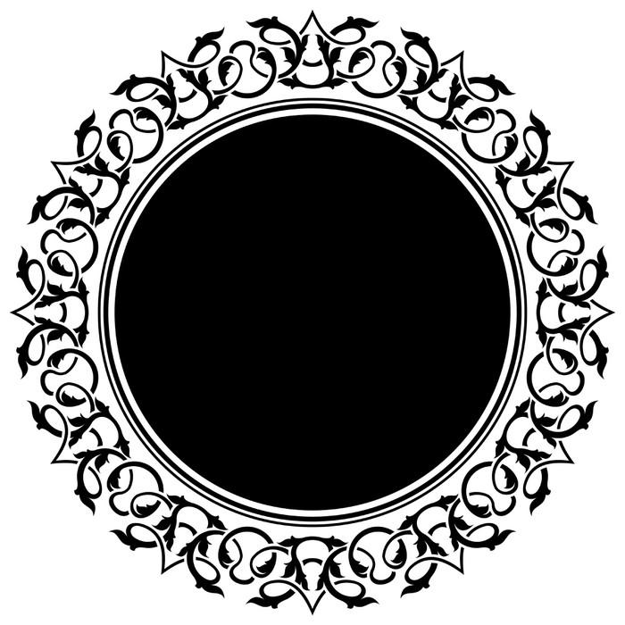 Aufkleber Schwarz Kreis-Rahmen mit floralen Grenze • Pixers® - Wir ...