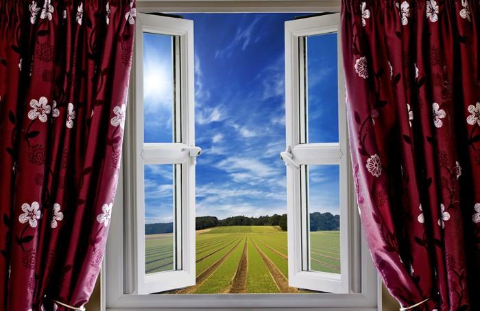 Vinylová Tapeta Výhled z okna na orné půdy a modrou oblohou - Témata