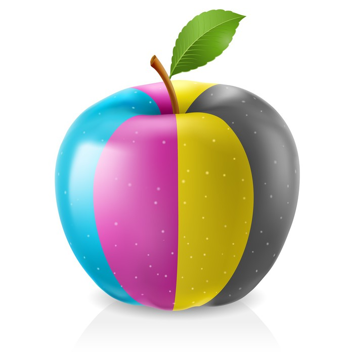 Delicious CMYK apple Wall Decal • Pixers® • We live to change