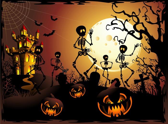 Halloween Scheletri e Castello Halloween Skeleton and Castle Wall