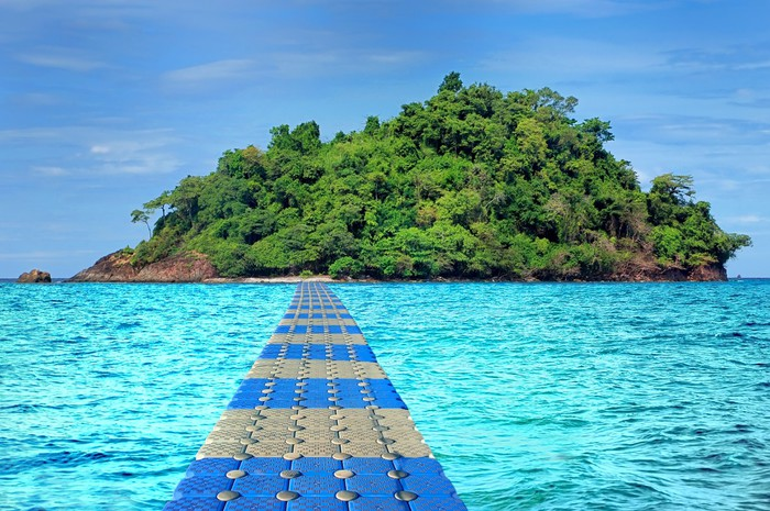 Pontoon Bridge To Small Tropical Island Siam Bay