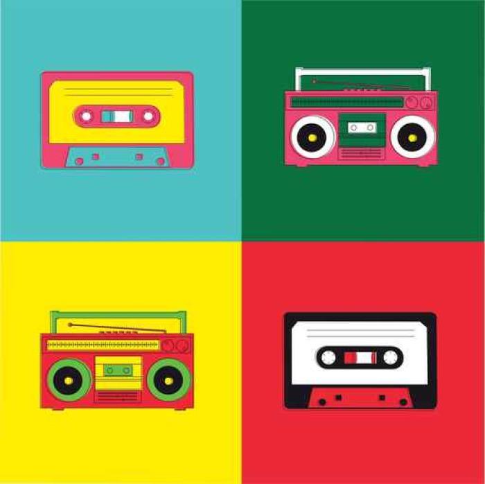 tableau sur toile pop art radio cassette pixers nous vivons pour changer. Black Bedroom Furniture Sets. Home Design Ideas