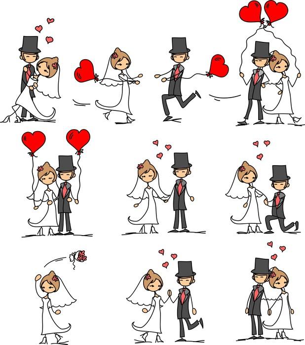 Vinylová Tapeta Svatební fotografie, ženich a nevěsta v lásce, vektor - Páry